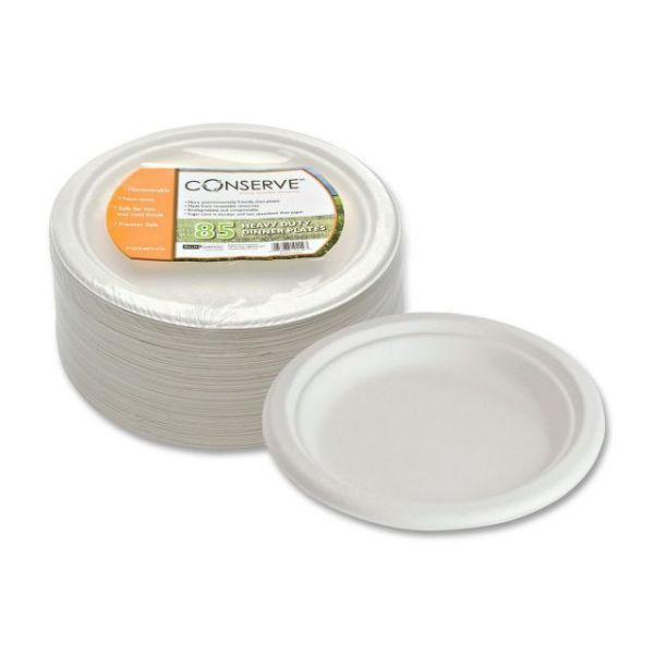 """Conserve Heavy-Duty 7"""" Bagasse Dinner Plates"""