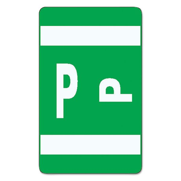 Smead Alpha-Z Color-Coded Second Letter Labels, Letter P, Dark Green, 100/Pack