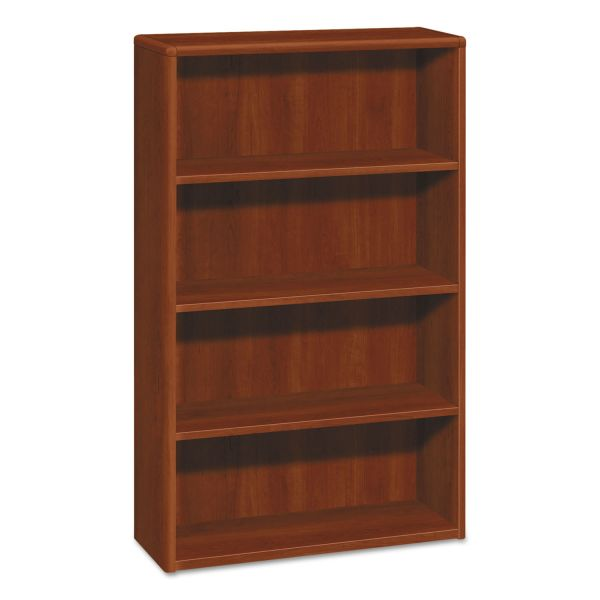HON 10700 Series Wood Bookcase, Four Shelf, 36w x 13 1/8d x 57 1/8h, Cognac