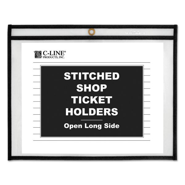C-Line Shop Ticket Holders, Stitched, Both Sides Clear, 75 Sheets, 12 x 9, 25/BX