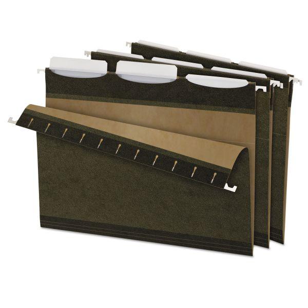 Pendaflex Ready-Tab Reinforced Hanging Folders, 1/3 Tab, Letter, Green, 25/Box