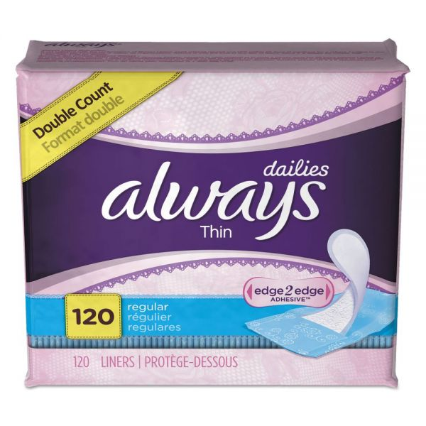 Always Dailies Thin Liners, Regular, 120/Pack, 6 Pack/Carton