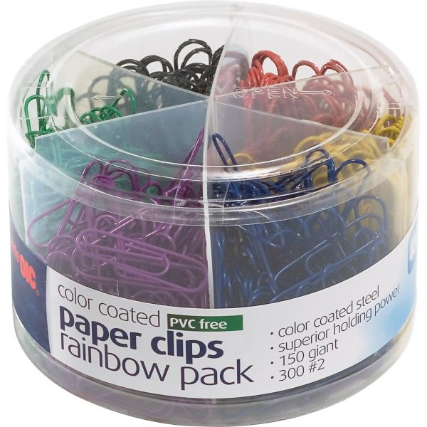 Officemate Giant & #2 Plastic-Coated Paper Clips