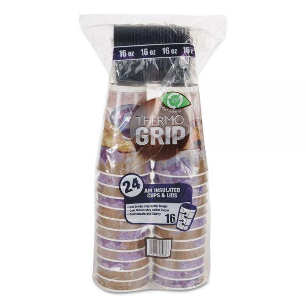 LBP Thermo Grip 16 oz Foam Cups w/ Sip-Thru Lids
