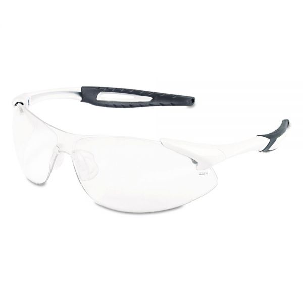 MCR Safety Inertia Safety Glasses, White Frame, Clear Anti-Fog Lens, One Size