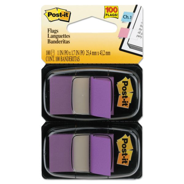 Post-it Flags Standard Page Flags in Dispenser, Purple, 100 Flags/Dispenser