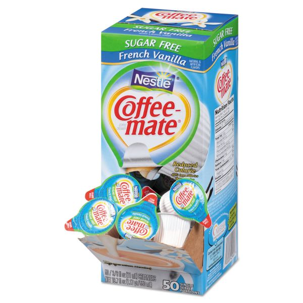 Coffee-mate Sugar-Free French Vanilla Creamer, 0.375oz, 50/Box, 4 Boxes/Carton