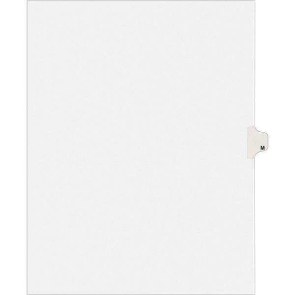 Avery-Style Legal Exhibit Side Tab Dividers, 1-Tab, Title M, Ltr, White, 25/PK