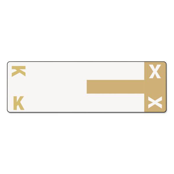 Smead Alpha-Z Color-Coded First Letter Name Labels, K & X, Light Brown, 100/Pack