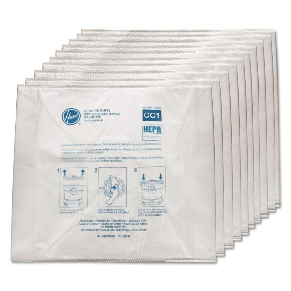 Hoover Commercial Disposable Vacuum Bags, Hepa CC1, 10/Carton