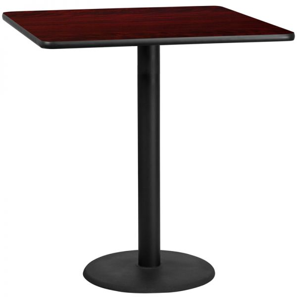 Flash Furniture 42'' Square Mahogany Laminate Table Top with 24'' Round Bar Height Table Base
