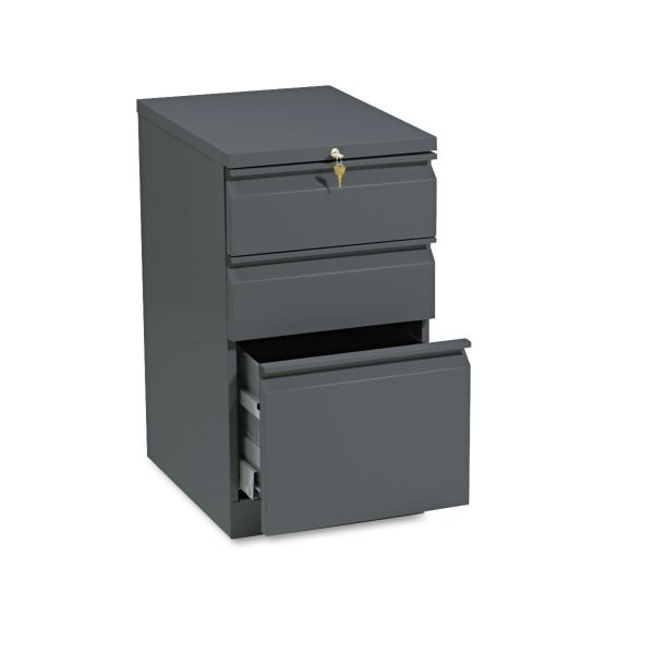 HON Efficiencies Mobile Pedestal File w/One File/Two Box Drawers, 19-7/8d, Charcoal