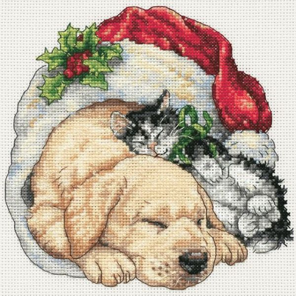 Gold Petite Christmas Morning Pets Counted Cross Stitch Kit