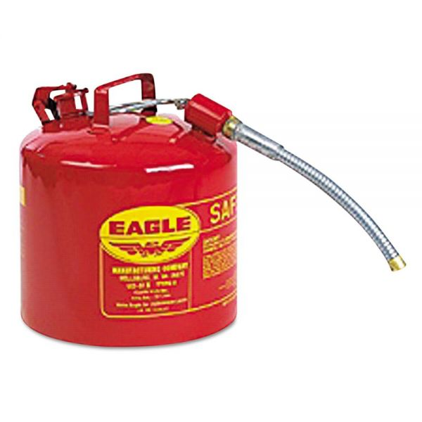 Eagle Type II Safety Can, 2 Gallon, Red, Metal Spout