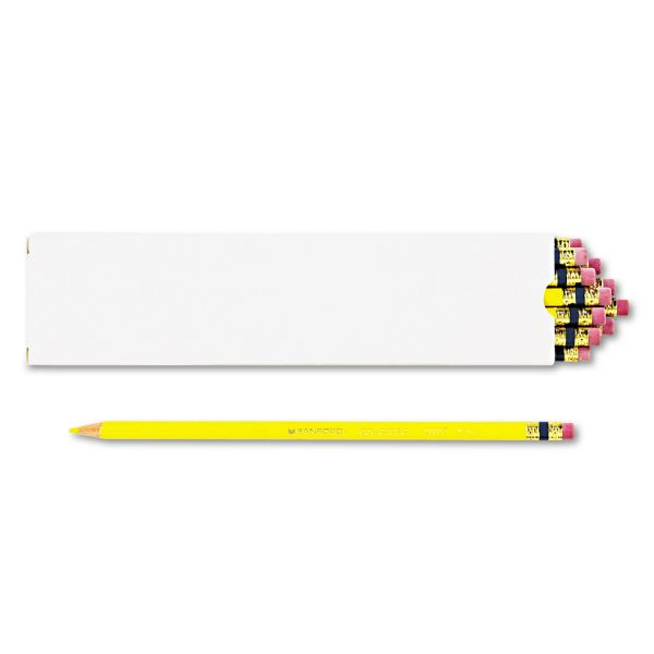 Prismacolor Col-Erase Pencil w/Eraser, Yellow Lead/Barrel, Dozen