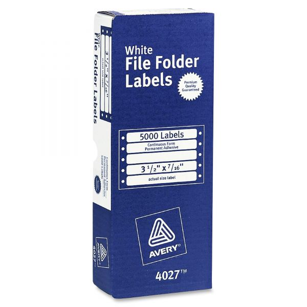 Avery Permanent File Folder Labels for Pin Fed Printers