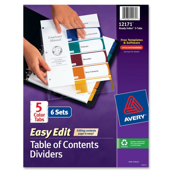 Avery Easy Edit Index 5-Tab Dividers With Table Of Contents Page