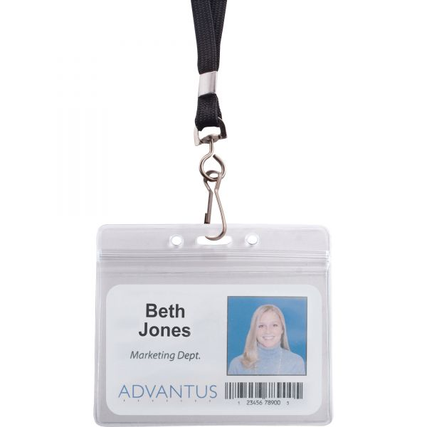 Advantus Resealable ID Badge Holder, Lanyard, Horizontal, 3 3/4 x 2 5/8, Clear, 20/Pack