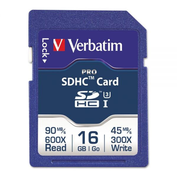 Verbatim Pro 600X SDHC Memory Card, Class 10 UHS-1, 16GB
