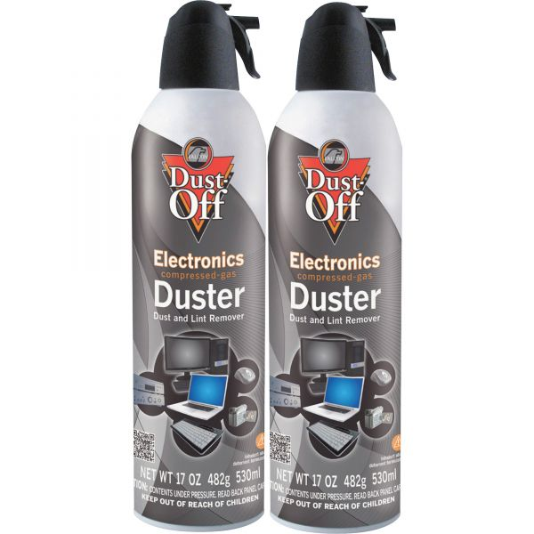 Dust-Off Disposable Compressed Air Duster, 17 oz Cans, 2/Pack