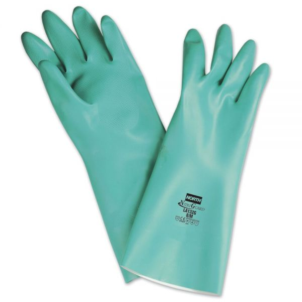 North Safety NitriGuard Unsupported Nitrile Gloves, Green, One Size Fits All, 12 Pairs