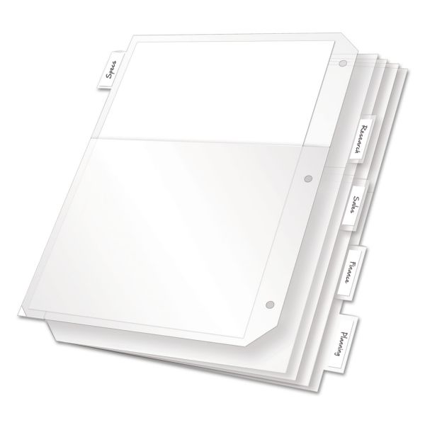 Cardinal Poly Ring Binder Pockets, 11 x 8 1/2, Clear, 5/Pack