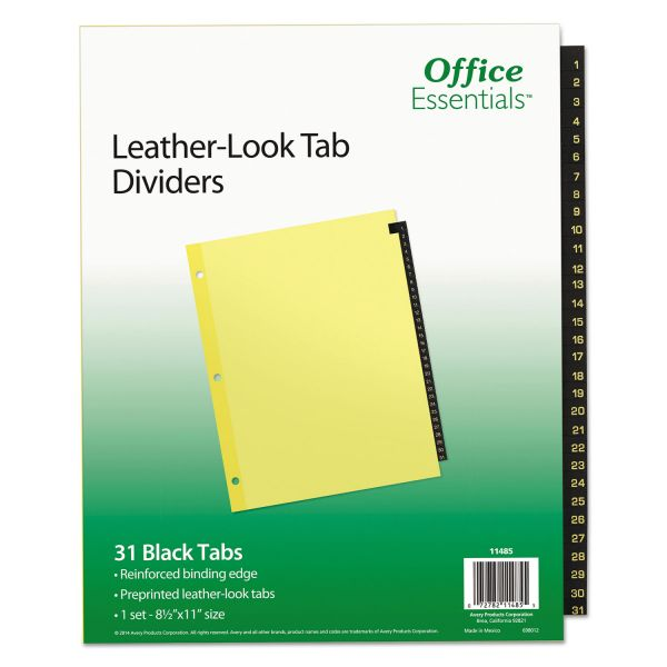 Office Essentials Numbered Tab Index Dividers
