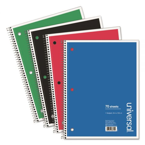 Universal 1 Subject Wirebound Notebook, 10.5 x 8, College Rule, 70 Sheets, Assorted, 4/PK