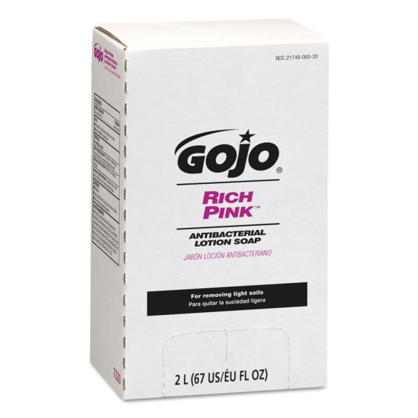 GOJO Bag-In-Box RICH PINK Antibacterial Lotion Hand Soap Refills