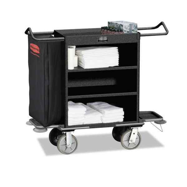 Rubbermaid Commercial Cruise Housekeeping Cart, Black, Steel, 19 x 50 x 55, 3-Shelf