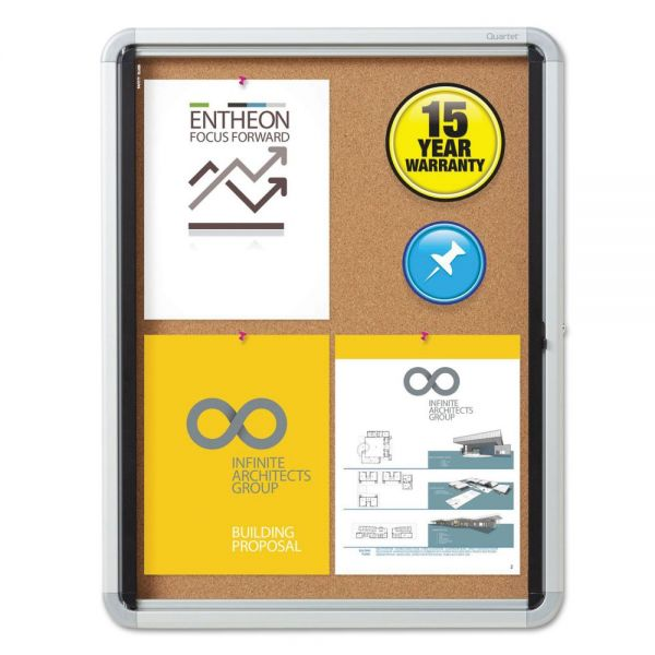 Quartet Enclosed Cork Bulletin Board w/Swing Door