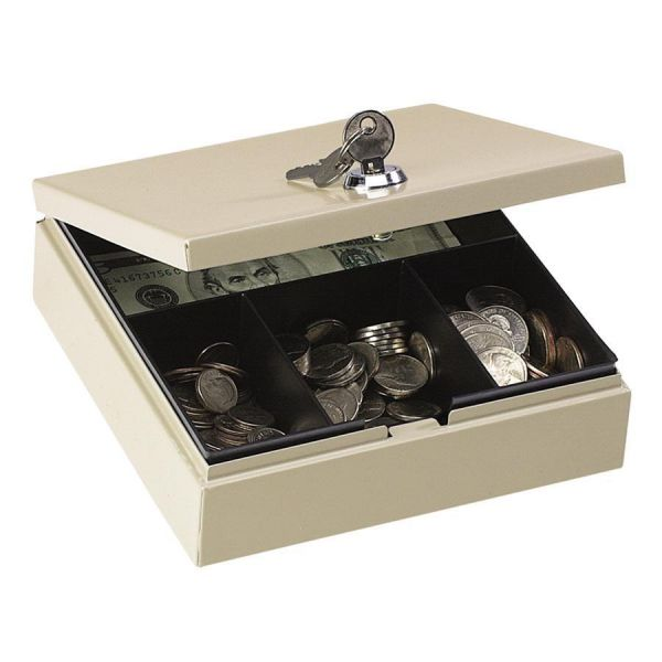 PM Company SecurIT Steel Personal Cash/Security Box w/4 Compartments, Key Lock, Pebble Beige
