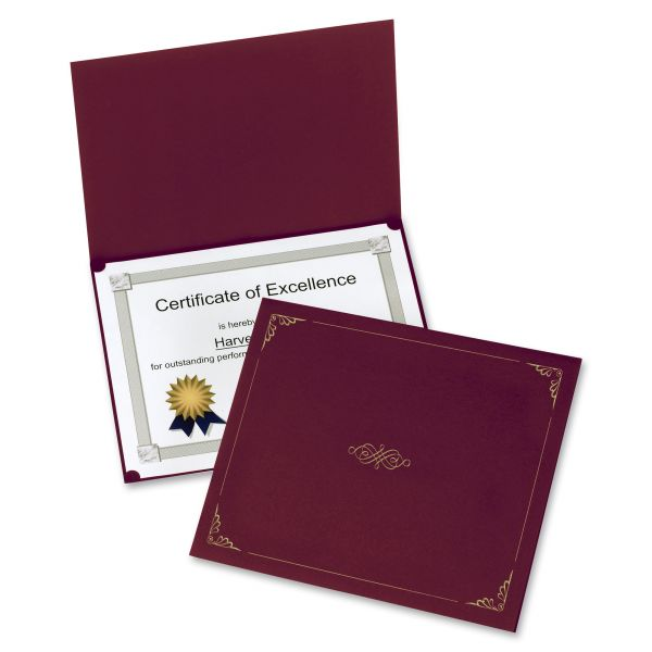 Oxford Certificate Holder, 11 1/4 x 8 3/4, Burgundy, 5/Pack