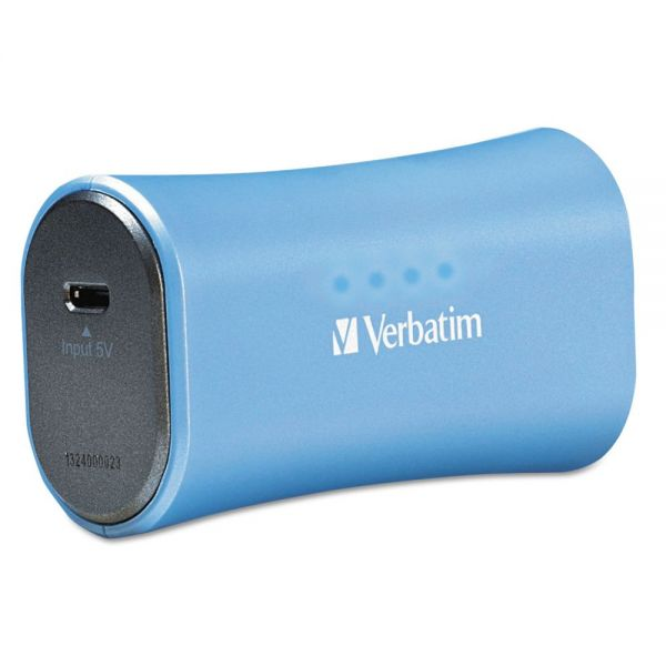 Verbatim Portable Power Pack Chargers, 2200 mAh Battery Capacity, Blue