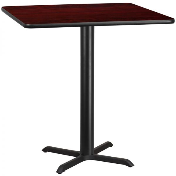Flash Furniture 42'' Square Mahogany Laminate Table Top with 33'' x 33'' Bar Height Table Base
