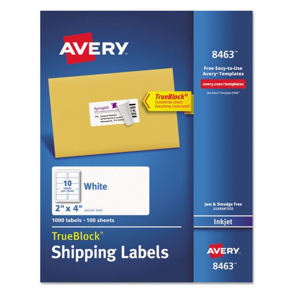 Avery Shipping Labels with TrueBlock Technology, Inkjet, 2 x 4, White, 1000/Box