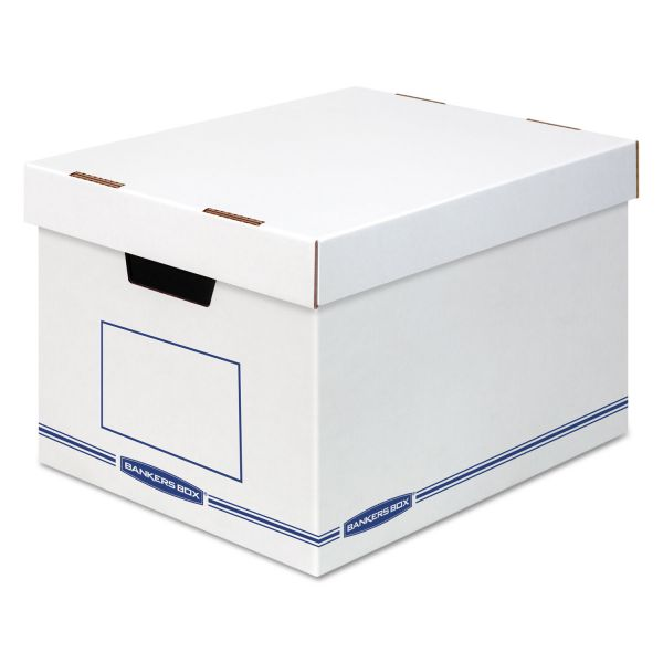 Bankers Box Organizer Storage Boxes, X-Large, White/Blue, 12/Carton