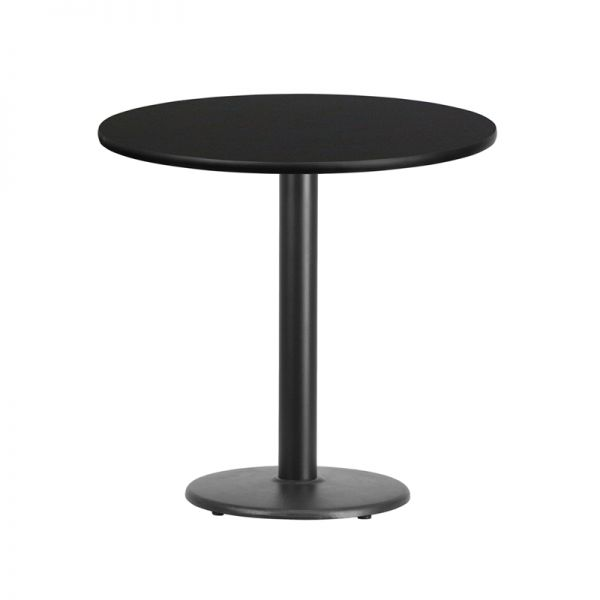Flash Furniture 30'' Round Black Laminate Table Top with 18'' Round Table Height Base