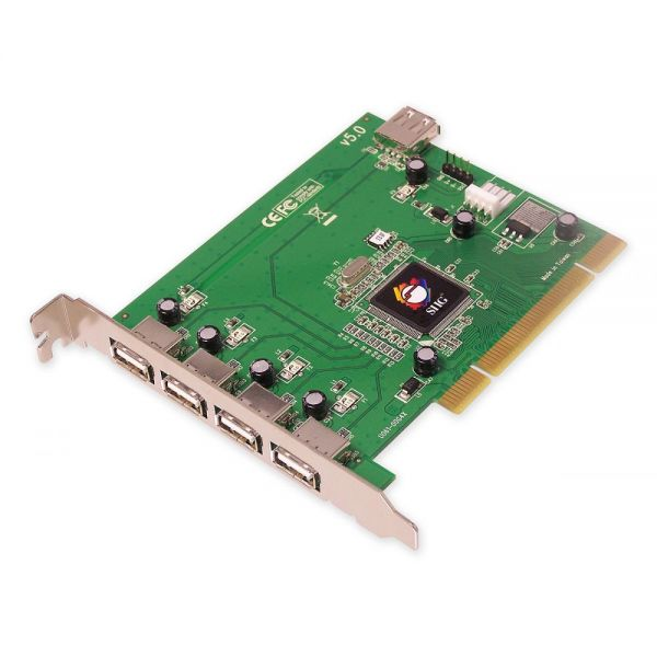 SIIG 5-port PCI host adapter with 4 external & 1 internal Hi-Speed USB 2.0 ports