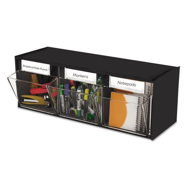 deflect-o Tilt Bin Plastic Storage System, Three Bins, 23 5/8 x 7 3/4 x 9 1/2, Black