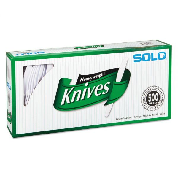 SOLO Cup Company Heavyweight Plastic Cutlery, Knives, White, 7 in, 500/Carton