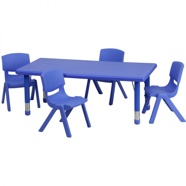 Flash Furniture 24''W x 48''L Adjustable Rectangular Blue Plastic Activity Table Set with 4 School Stack Chairs