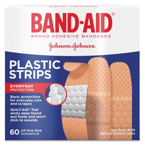 BAND-AID Plastic Adhesive Bandages, 3/4 x 3, 60/Box