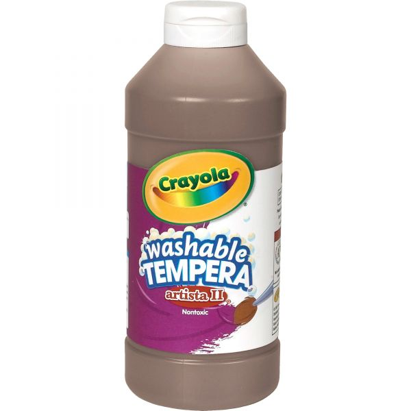 Crayola Artista II Washable Tempera Paint, Brown, 16 oz