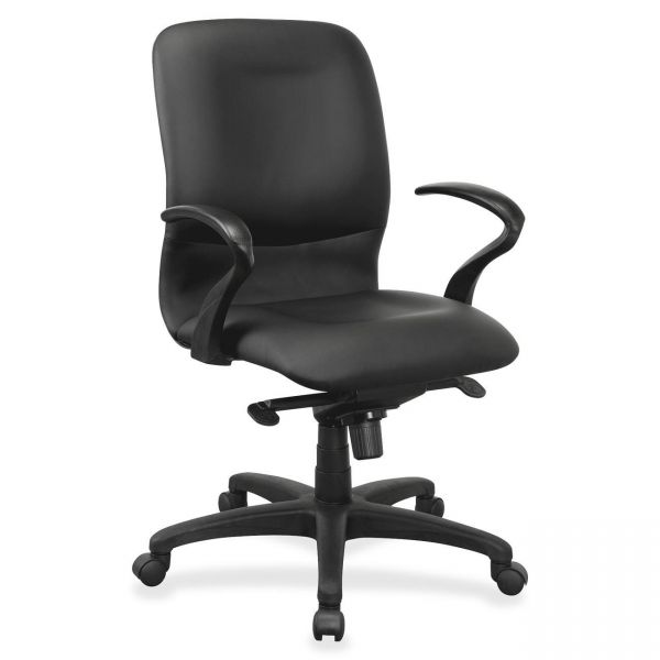 Lorell Executive Mid-Back Leather Contour Office Chair