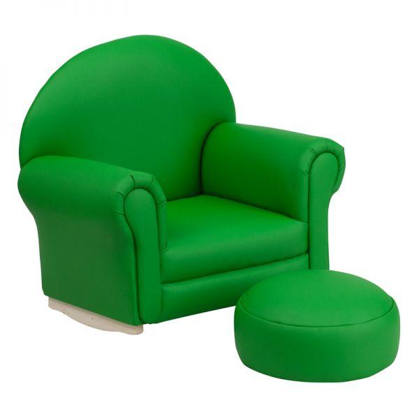 Flash Furniture Kids Green Vinyl Rocker Chair and Footrest
