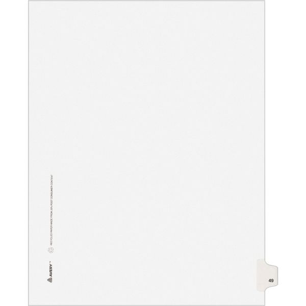 Avery-Style Legal Exhibit Side Tab Divider, Title: 49, Letter, White, 25/Pack