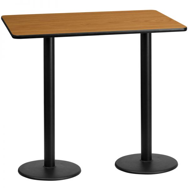 Flash Furniture 30'' x 60'' Rectangular Natural Laminate Table Top with 18'' Round Bar Height Table Bases