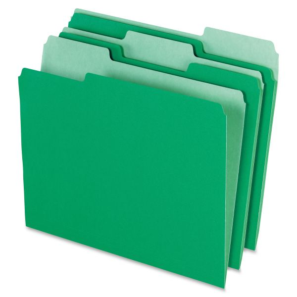 Pendaflex Colored File Folders, 1/3 Cut Top Tab, Letter, Green/Light Green, 100/Box