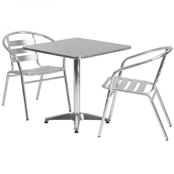 Flash Furniture 27.5'' Square Aluminum Indoor-Outdoor Table with 2 Slat Back Chairs